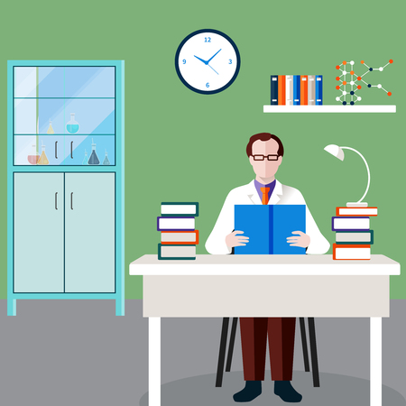 Scientists people composition with man at the table in his office studies professional literature vector illustration