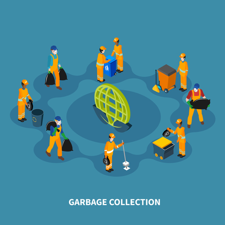 Garbage isometric composition with human characters of cleaning professionals collection workers with equipment and orange uniform vector illustration Illustration