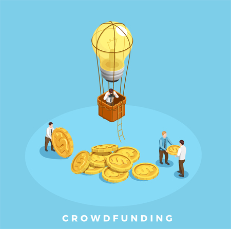 Crowdfunding and money isometric composition with people and ideas symbols on blue background vector illustration