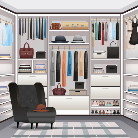 Storage room wardrobe cloakroom interior organization with adjustable shelving hanging rails shoe racks armchair realistic vector illustration