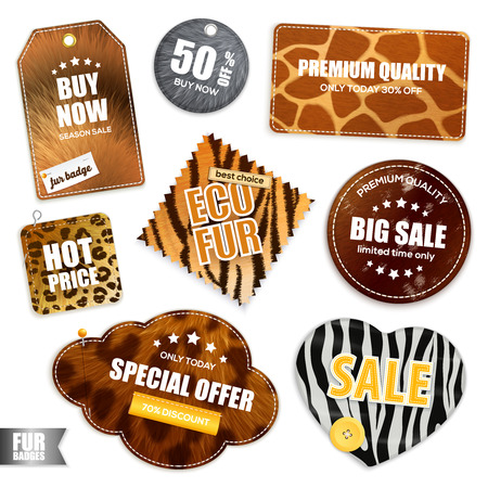 Collection of badges and labels for big sale with fur texture design realistic vector illustration