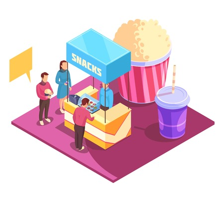 Snacks in cinema theater isometric composition including persons, booth with sweets, pop corn and drinks, vector illustration