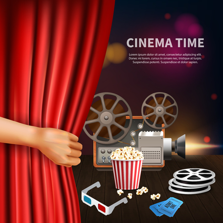 Realistic cinema time background with 3d glasses camcorder reels tickets and tickets vector illustration