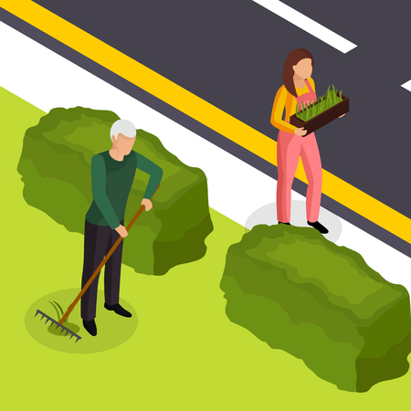 Spring cleaning work outside house isometric composition with grass seeds replenishing lawn raking seedlings planting vector illustration
