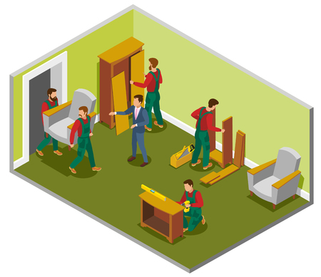 Furniture delivery isometric composition room with makers during assembly, customer and loaders carrying chair vector illustration