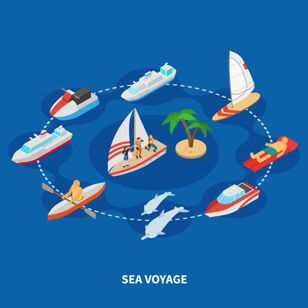 Sea voyage isometric composition with cruise ship, tourists on sail boat, dolphins on blue background vector illustration
