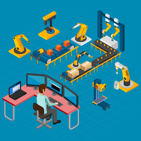 Industrial machines isometric composition of human guided operating console and set of electronic manipulators and conveyors illustration