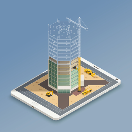 Skyscraper construction on smart phone screen isometric composition with steel tubes frame and yellow machinery vector illustration Çizim