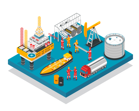Plate-forme de forage auto-élévatrice de l'industrie pétrolière composition plate-forme isométrique avec illustration vectorielle de navire-citerne
