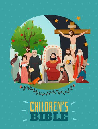 Bible story poster with children bible symbols flat vector illustration Illustration