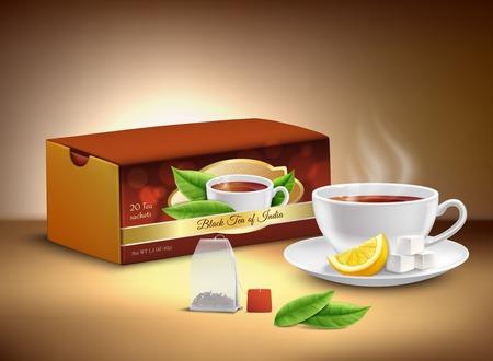 Black tea cardboard packaging, cup of hot drink with sugar and lemon realistic design vector illustration Illustration