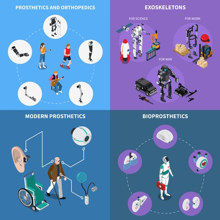 Exoskeleton bionic prosthetics concept icons set with orthopedics symbols isometric isolated vector illustration