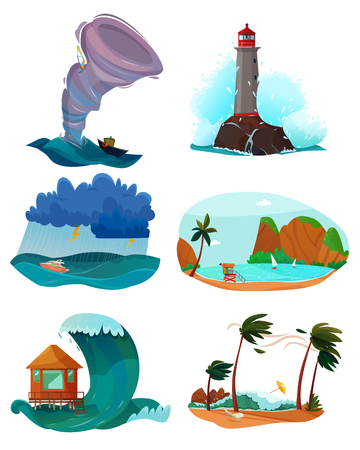 Seaside landscapes set with wind and sand flat isolated vector illustration Illustration