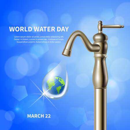 World water day advertising blue poster with water crane and green earth image in drop background realistic vector illustration
