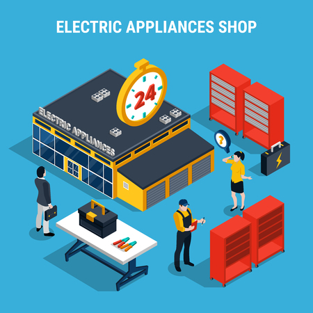 Electricity isometric 3d composition with electric appliances shop with buyers and sellers vector illustration