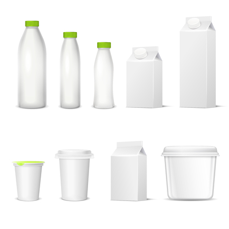 Set of white blank realistic dairy packaging including plastic bottles and carton packets isolated vector illustration Illustration