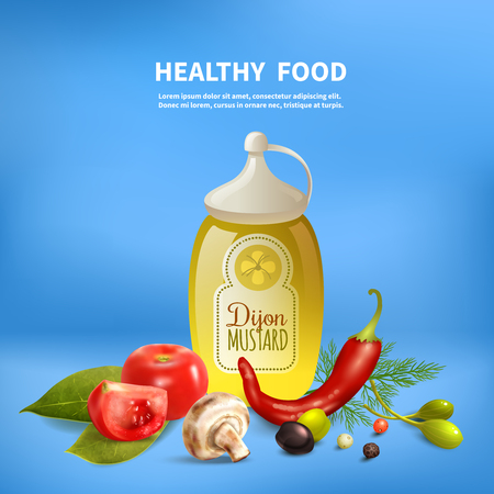 Blue realistic background with healthy food tomatoes mushrooms herbs and spices vector illustration