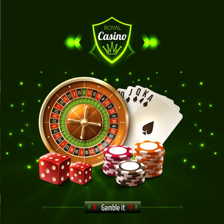 Gamble it casino realistic composition with dice playing cards roulette and chips vector illustration