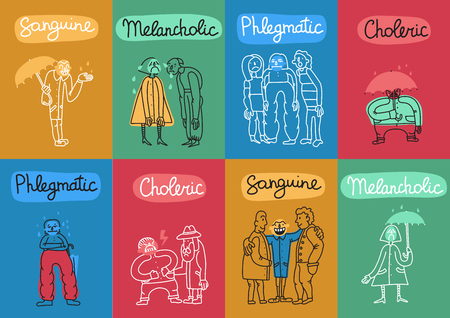 Temperament 8 colorful background cards set with 4 fundamental personality types names symbols abstract isolated vector illustration