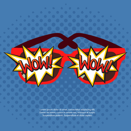 Sun glasses in red rim with comic bubbles wow on blue pop art background vector illustration