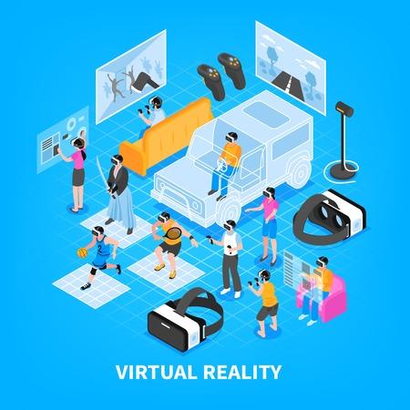 Simulatori di esperienza di realtà virtuale vr che addestrano i giochi dispositivi portatili le cuffie avricolari visualizza l'illustrazione isometrica di vettore del manifesto del fondo della composizione