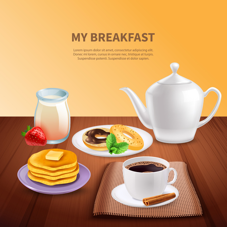 Breakfast realistic background with coffee pot cup of coffee pancakes and doughnuts vector illustration Banque d'images - 97717540
