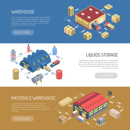 Warehouse horizontal banners with liquids storage and materials store building isometric images vector illustration Illustration