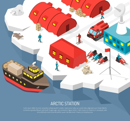 Arctic meteorological research polar station isometric poster with cargo ship arrival tracked vehicles snowmobiles helipad vector illustration