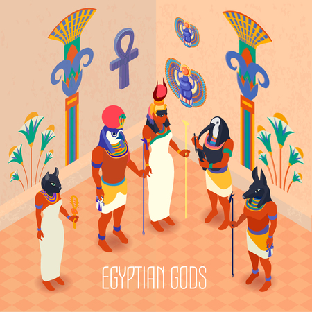 Egyptian ancient gods and goddesses in colorful masks isometric 3d vector illustration