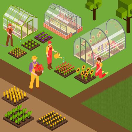 農家は花に水をやり、農場のアイソメトリック背景3Dベクトルイラストの庭で働く
