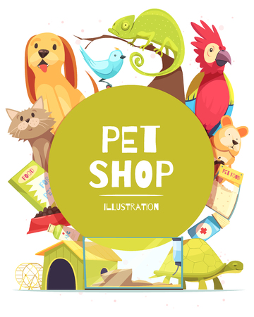 Pet shop background with green round frame, animals, food, medicines, canine home and aquarium vector illustration