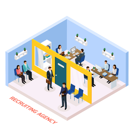 Recruitment agency for permanent job part time work seekers isometric composition with staff interviewing candidates vector illustration