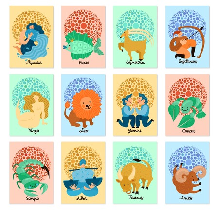 Set of vertical cards with colorful zodiac signs isolated on a pastel background illustration