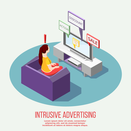 Annoying advertisement isometric composition with woman on sofa and promotional information on tv vector illustration