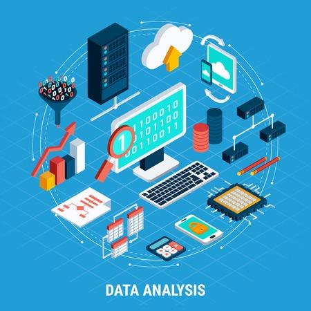Ensemble d'icônes isométriques d'analyse de données de volume numérique échange réseau stockage cloud tables de base de données liées illustration vectorielle
