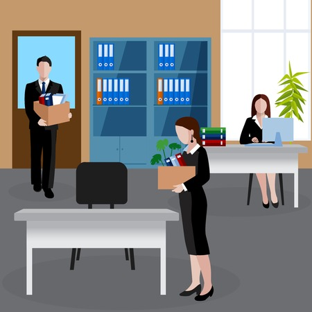 Flat design human resources background with new employees with their personal things at office vector illustration