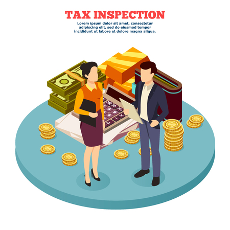 Tax inspection Isometric composition with man and woman figurines and business icons vector illustration
