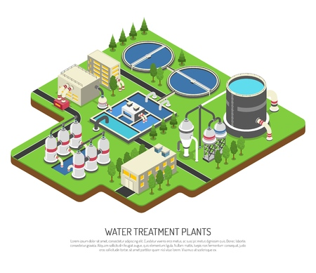 Water treatment plants isometric vector illustration with storage tank distribution   prefiltration and final filtration units Stock Vector - 97717553