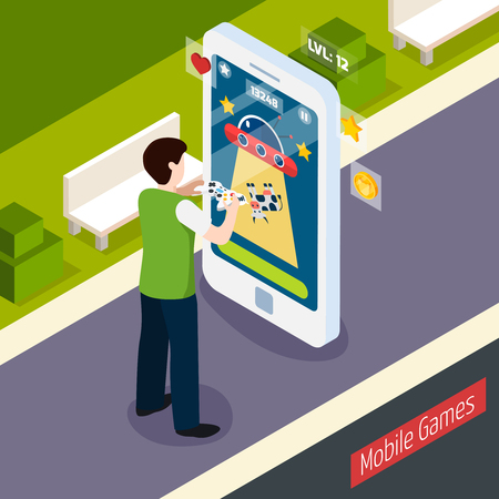 Mobile games isometric composition with person with controller and smart phone at outdoor vector illustration