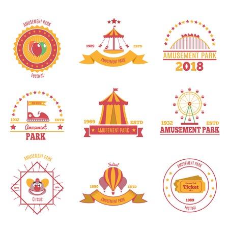 Amusement park colourful emblems set of nine flat compositions with pavilion aerostat and fairground attraction images vector illustration Illusztráció
