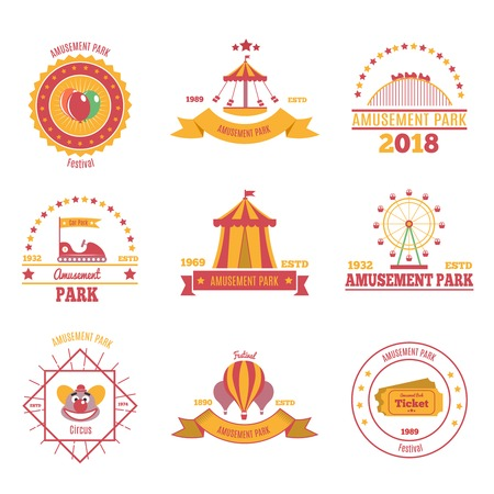 Amusement park colourful emblems set of nine flat compositions with pavilion aerostat and fairground attraction images vector illustration Illustration