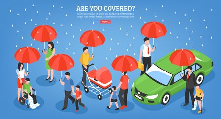 Insurance services design concept with people under umbrella as symbol protection from life problems isometric vector illustration Stock Illustratie