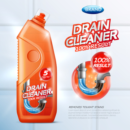 Colored drain cleaner poster with orange drain cleaner bottle illustration