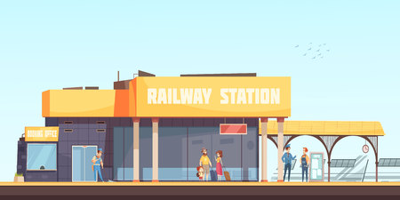Railway station background booking office cleaner inspector and passengers waiting train on platform flat vector illustration Stock Illustratie