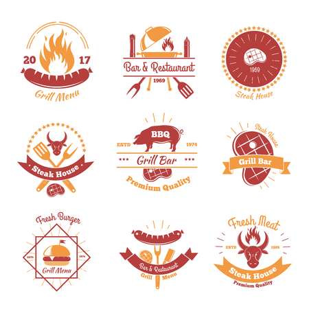 Steakhouse vintage emblems set of nine isolated flat images of fresh meat burgers sausages and text vector illustration Illustration