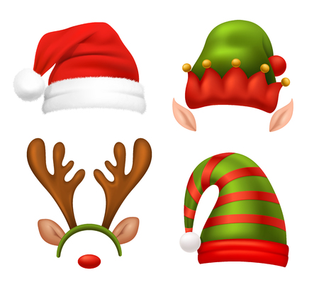 Santa Claus concept icons set with Christmas symbols realistic isolated vector illustration Çizim