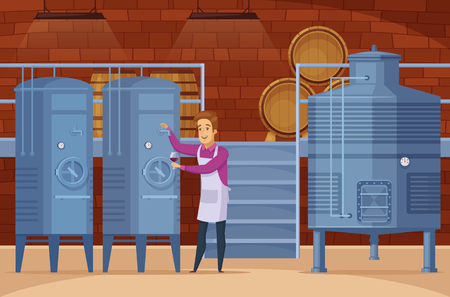 Wine production equipment in winery facility cellar with winemaker man cartoon Vettoriali