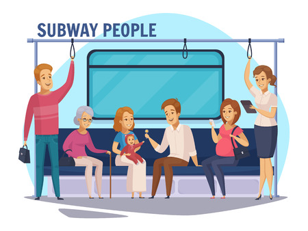 Subway commuters sitting and standing in underground train with family and old woman cartoon composition vector illustration Illustration