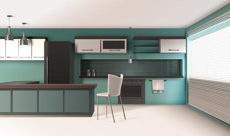 Design réaliste intérieur cuisine moderne avec des murs de couleur turquoise stores vénitiens four de cuisson et lampes suspendues illustration vectorielle Banque d'images - 97903140