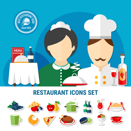 Various restaurant dishes staff and cutlery icons set flat isolated vector illustration Иллюстрация